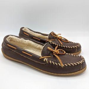 Minnetonka Brown Leather Sherpa Lined Moccasins
